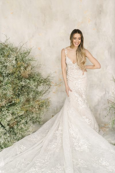 Sleeveless Sweetheart Neckline Lace Fit And Flare Wedding Dress by Demetrios for Kleinfeld - Image 1