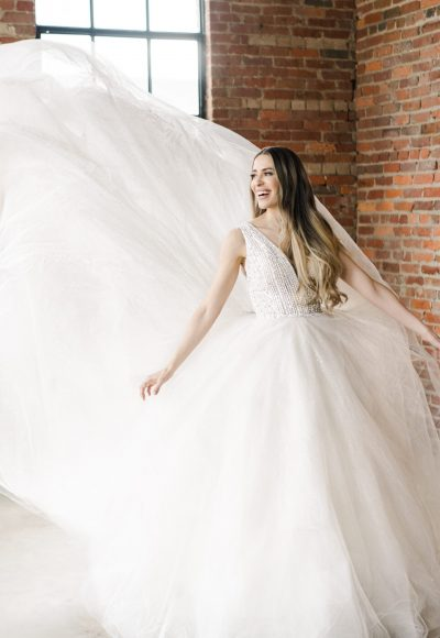 Sleeveless V-neckline Ball Gown Wedding Dress With Beaded Bodice by Demetrios for Kleinfeld