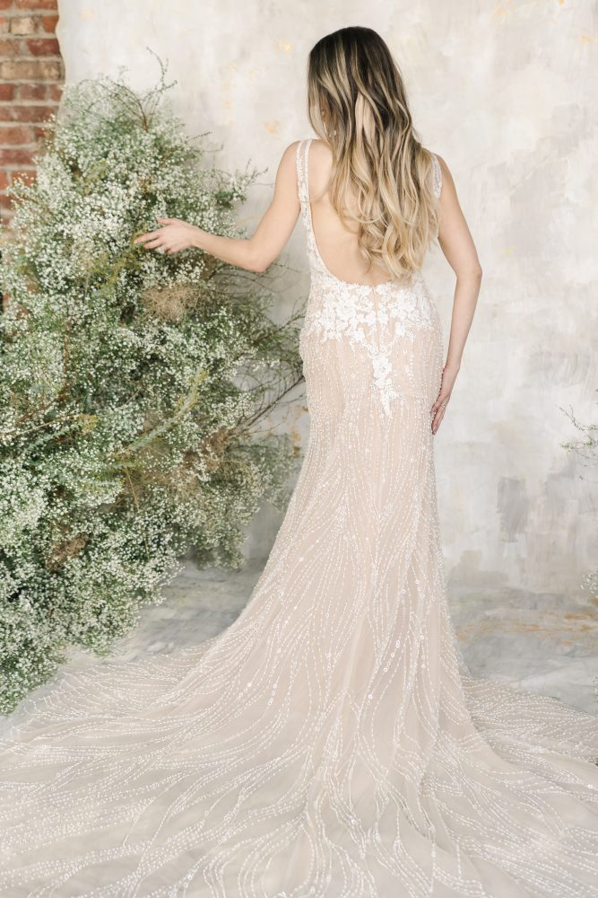 Sleeveless V-neckline Beaded Sheath Wedding Dress by Demetrios for Kleinfeld - Image 2