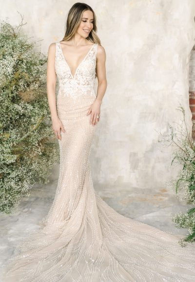 Sleeveless V-neckline Beaded Sheath Wedding Dress by Demetrios for Kleinfeld