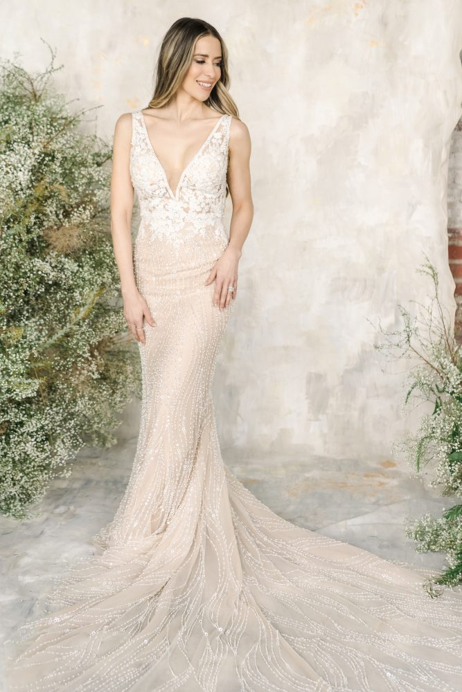 Sleeveless V-neckline Beaded Sheath Wedding Dress by Demetrios for Kleinfeld - Image 1