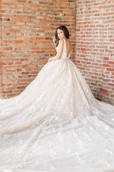 Sleeveless V-neckline Embroidered Ball Gown Wedding Dress by Demetrios for Kleinfeld - Image 2