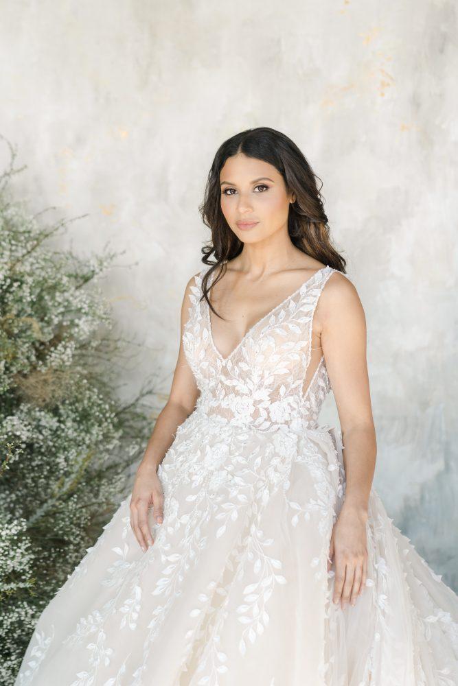 Sleeveless V-neckline Embroidered Ball Gown Wedding Dress by Demetrios for Kleinfeld - Image 1