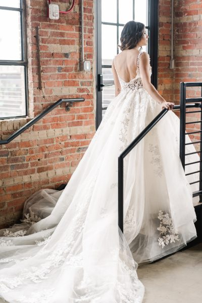 Sleeveless V-neckline Embroidered Lace Ball Gown Wedding Dress by Demetrios for Kleinfeld - Image 2