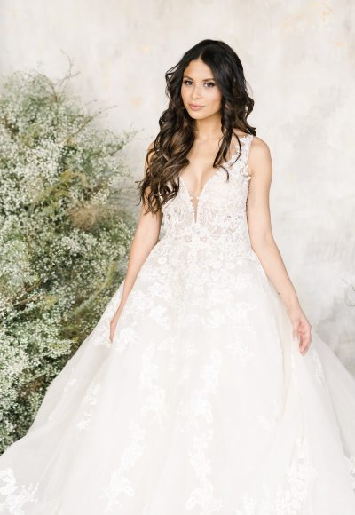 Sleeveless V-neckline Embroidered Lace Ball Gown Wedding Dress by Demetrios for Kleinfeld