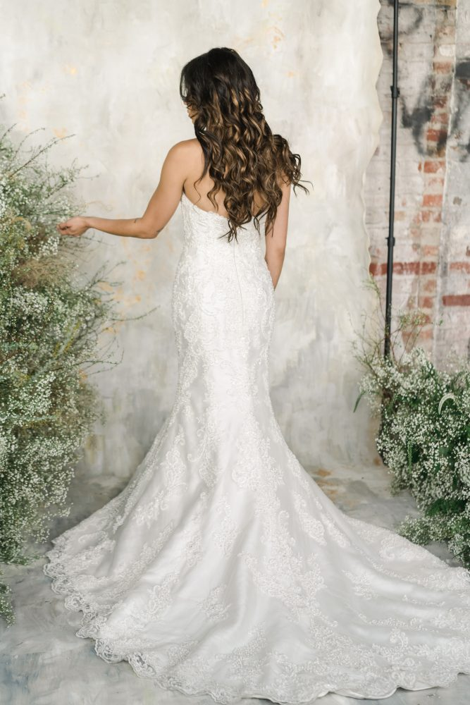 Strapless Sweetheart Neckline Fit And Flare Wedding Dress With Embroidered Lace by Demetrios for Kleinfeld - Image 2