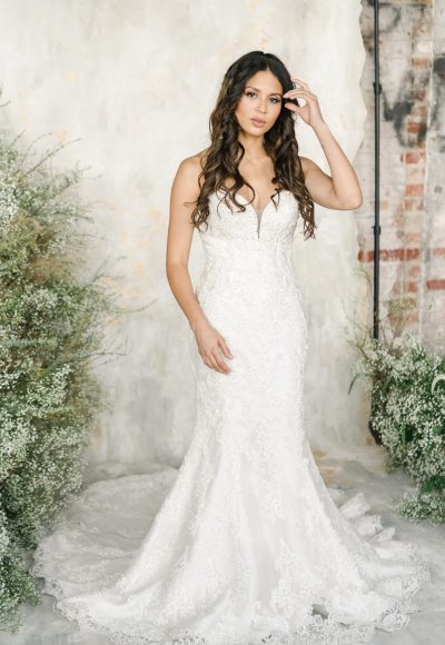Strapless Sweetheart Neckline Fit And Flare Wedding Dress With Embroidered Lace by Demetrios for Kleinfeld