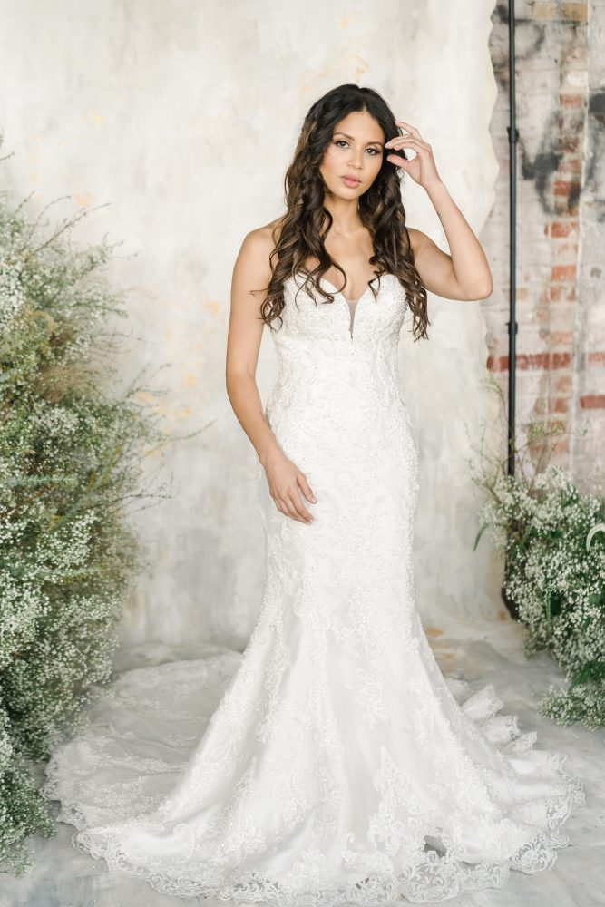 Strapless Sweetheart Neckline Fit And Flare Wedding Dress With Embroidered Lace by Demetrios for Kleinfeld - Image 1