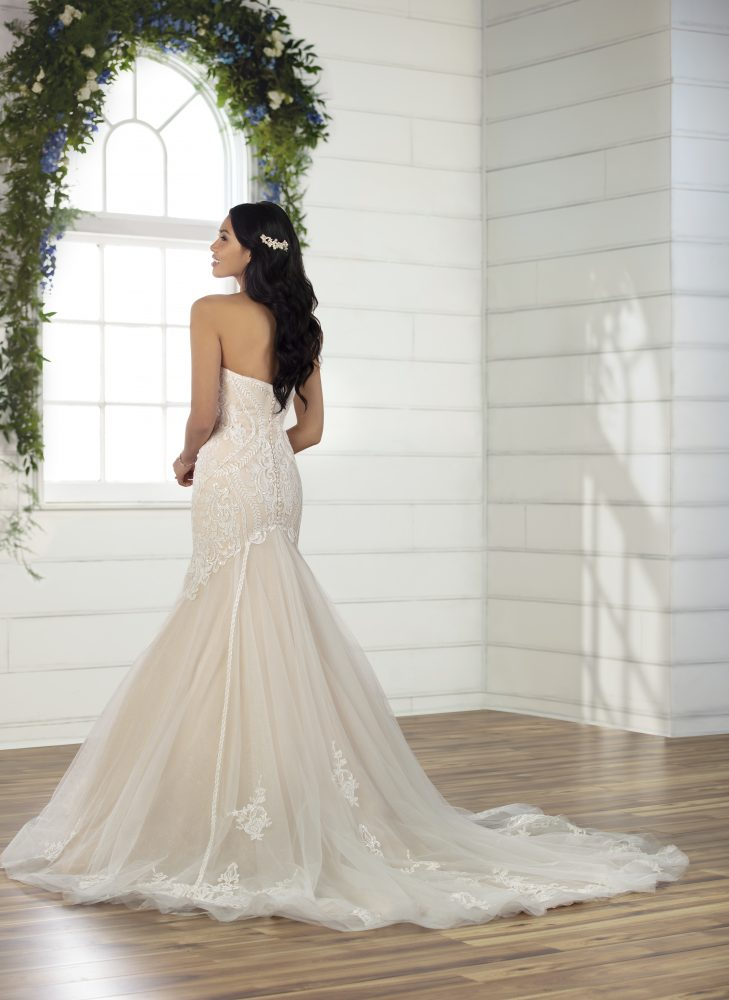 Strapless Sweetheart Neckline Fit And Flare Wedding Dress With Lace Details And Beading by Essense of Australia - Image 2