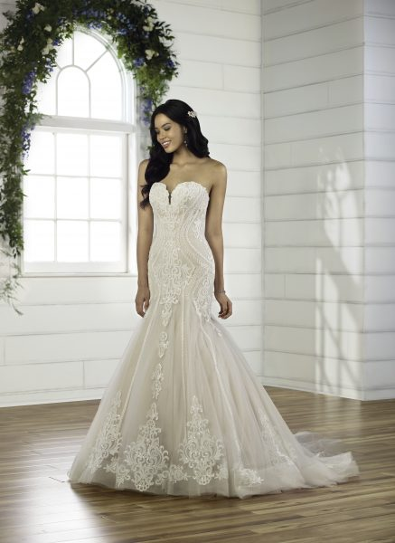 Strapless Sweetheart Neckline Fit And Flare Wedding Dress With Lace Details And Beading by Essense of Australia - Image 1