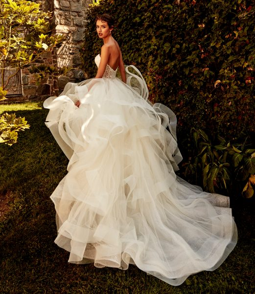 Strapless Sweetheart Neckline Layered Tulle A-line Wedding Dress by Eve of Milady - Image 2