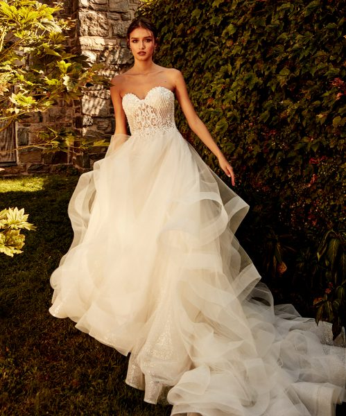 Strapless Sweetheart Neckline Layered Tulle A-line Wedding Dress by Eve of Milady - Image 1