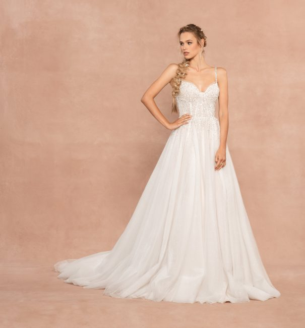Spaghetti Strap Sweetheart Neckline A-line Wedding Dress With Rhinestones And Corset by Hayley Paige - Image 1