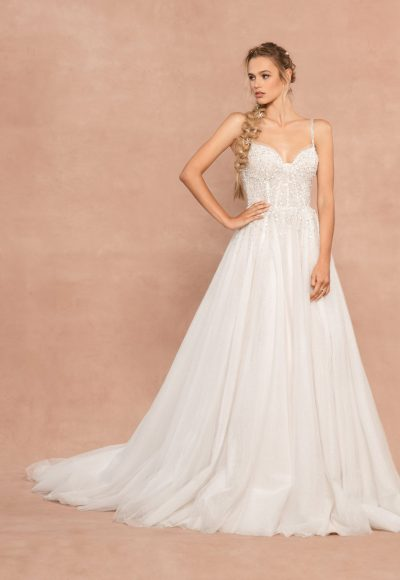 Spaghetti Strap Sweetheart Neckline A-line Wedding Dress With Rhinestones And Corset by Hayley Paige