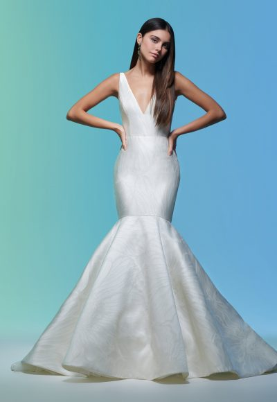 Sleeveless V-neckline Simple Mermaid Wedding Dress by Lazaro