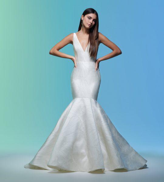 Sleeveless V-neckline Simple Mermaid Wedding Dress by Lazaro - Image 1