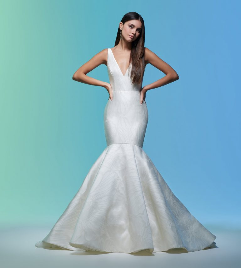 Sleeveless V-neckline Simple Mermaid Wedding Dress by Lazaro - Image 1
