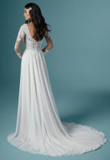 Long Sleeve Illusion Neckline Lace Sheath Wedding Dress by Maggie Sottero - Image 2