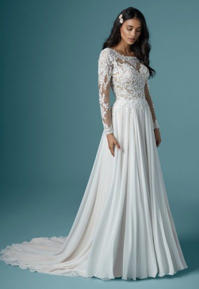 Long Sleeve Illusion Neckline Lace Sheath Wedding Dress by Maggie Sottero