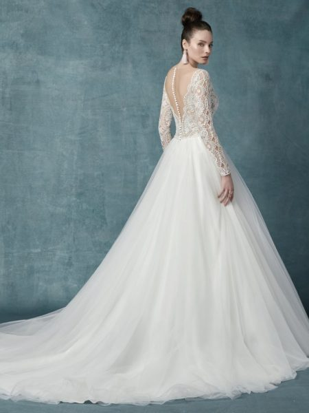 Long Sleeve V-neckline Lace Ball Gown Wedding Dress by Maggie Sottero - Image 2