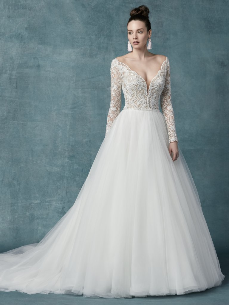 Long Sleeve V neckline Lace Ball Gown Wedding Dress   Kleinfeld Bridal