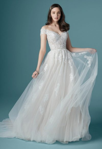 Off The Shoulder Sweetheart Neckline Lace Ball Gown Wedding Dress by Maggie Sottero
