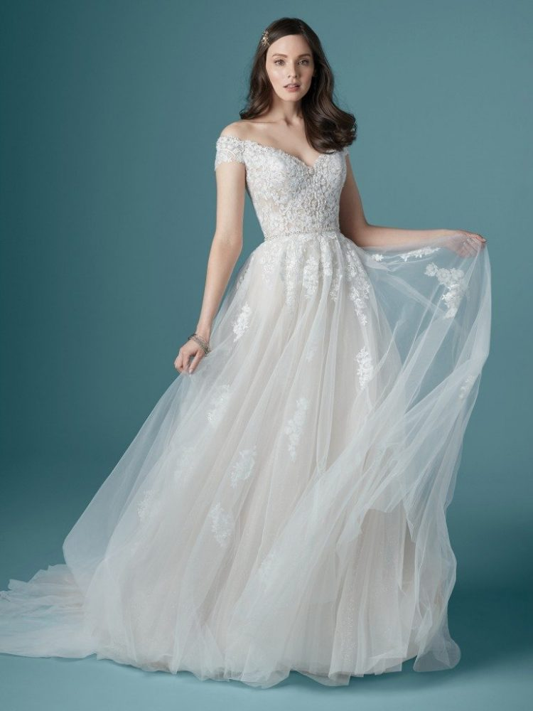 Off The Shoulder Sweetheart Neckline Lace Ball Gown Wedding Dress by Maggie Sottero - Image 1