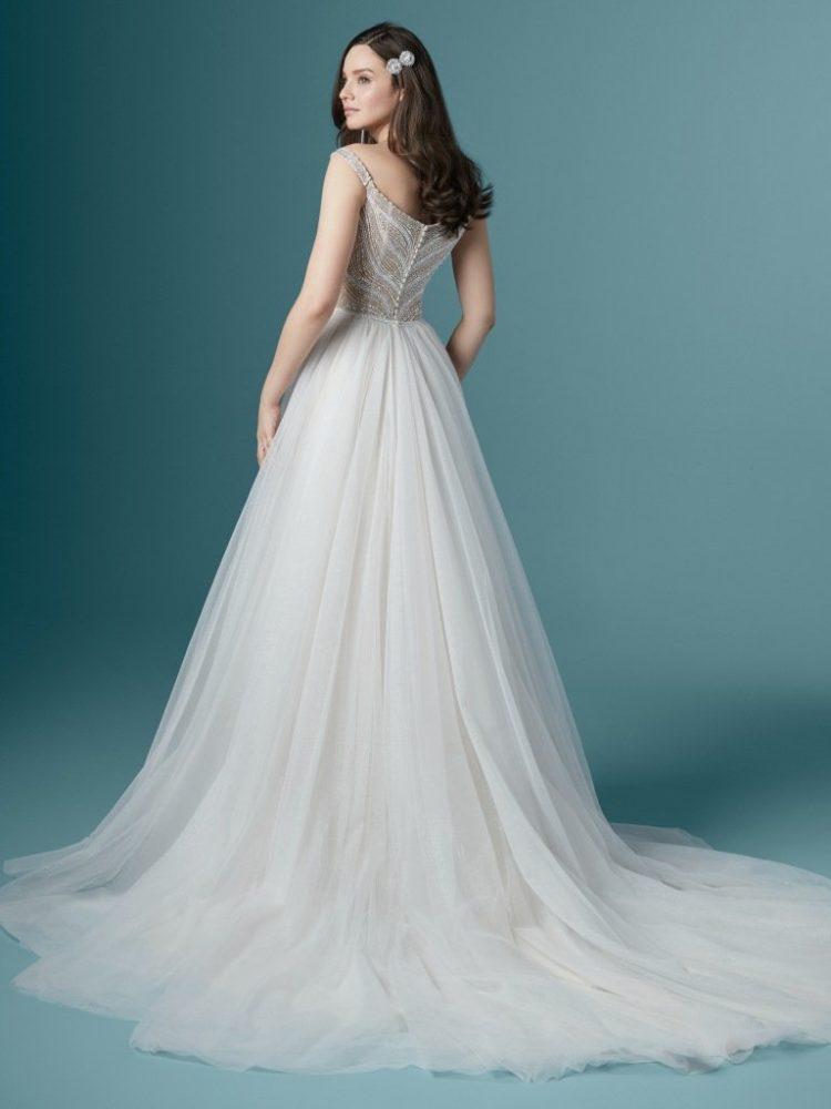 Off The Shoulder V-neckline Beaded A-line Wedding Dress by Maggie Sottero - Image 2