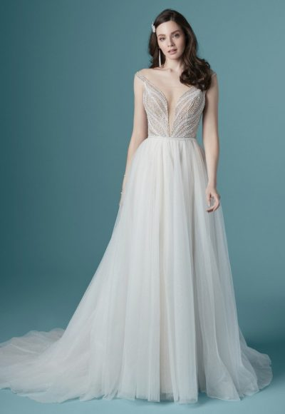 Off The Shoulder V-neckline Beaded A-line Wedding Dress by Maggie Sottero