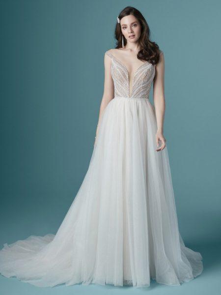 Off The Shoulder V-neckline Beaded A-line Wedding Dress by Maggie Sottero - Image 1