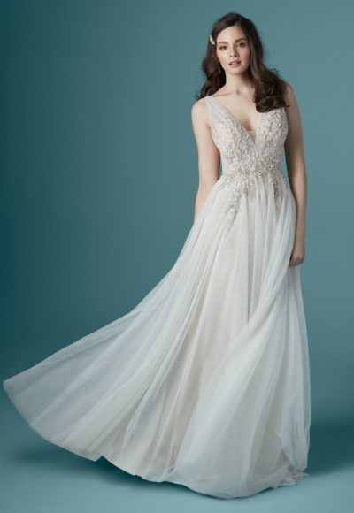 Sleeveless V-neckline A-line Wedding Dress With Beading And Embroidery by Maggie Sottero