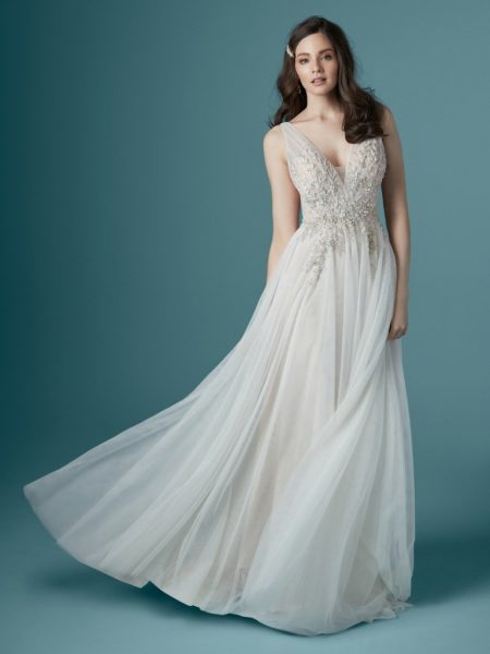 Sleeveless V-neckline A-line Wedding Dress With Beading And Embroidery by Maggie Sottero - Image 1