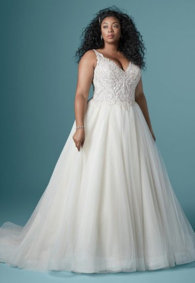 Sleeveless V-neckline Ball Gown Wedding Dress With Beaded Bodice by Maggie Sottero