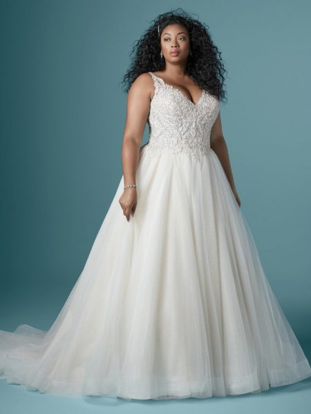 Sleeveless V-neckline Ball Gown Wedding Dress With Beaded Bodice by Maggie Sottero - Image 1