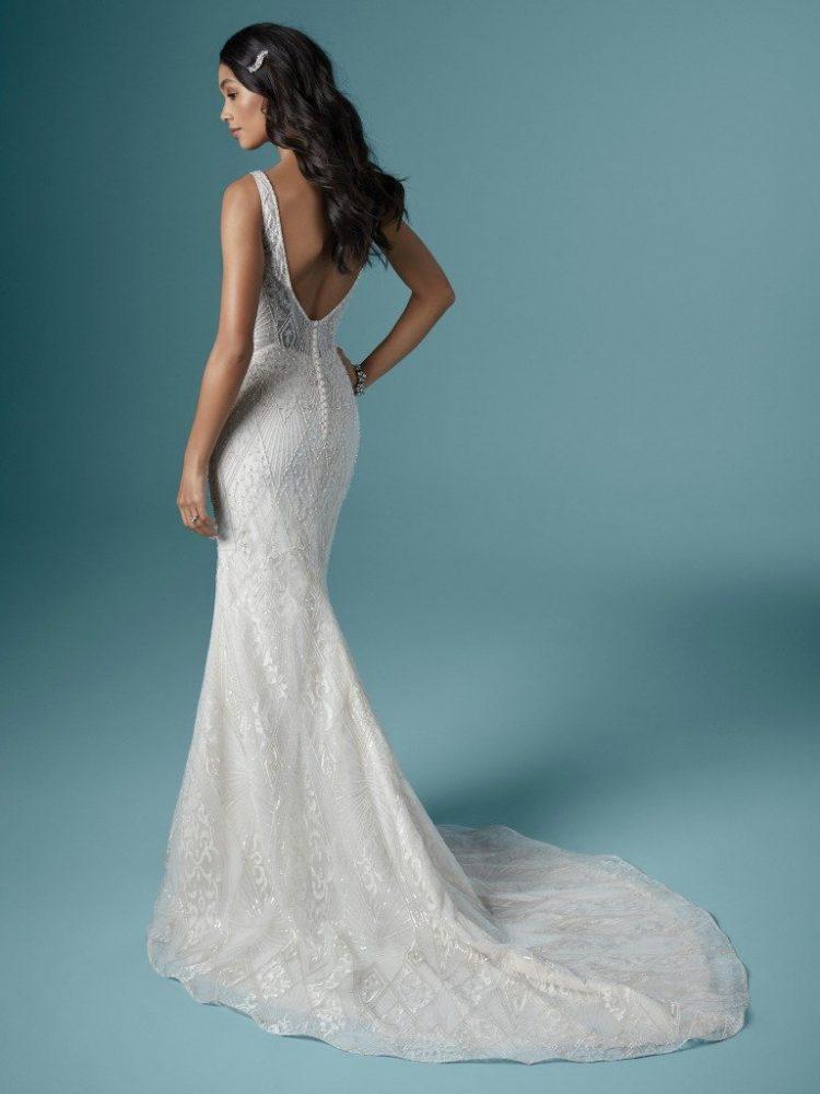 Sleeveless V-neckline Beaded Sheath Wedding Dress by Maggie Sottero - Image 2