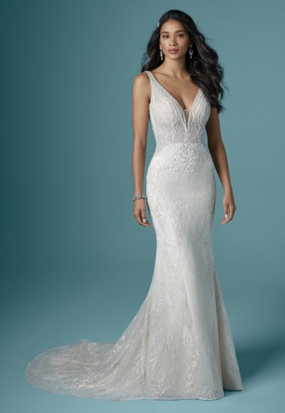 Sleeveless V-neckline Beaded Sheath Wedding Dress by Maggie Sottero
