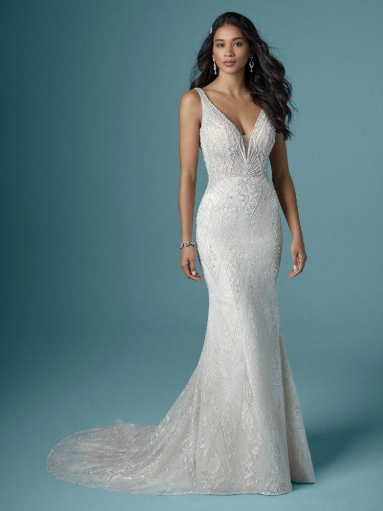 Sleeveless V-neckline Beaded Sheath Wedding Dress by Maggie Sottero - Image 1