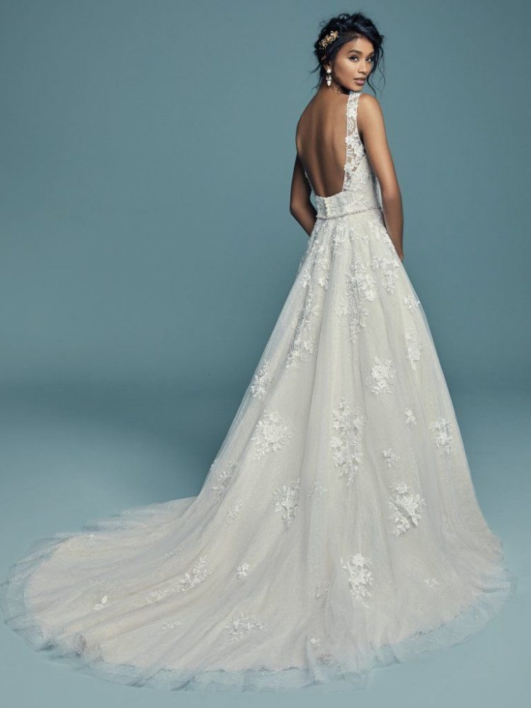Sleeveless V-neckline Lace Ball Gown Wedding Dress by Maggie Sottero - Image 2