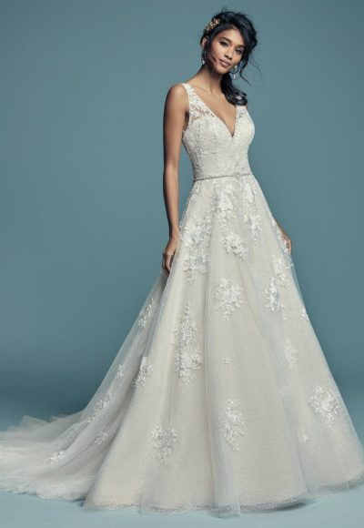 Sleeveless V-neckline Lace Ball Gown Wedding Dress by Maggie Sottero