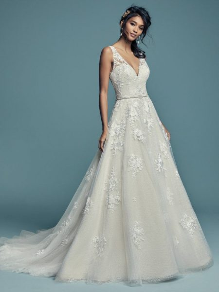 Sleeveless V-neckline Lace Ball Gown Wedding Dress by Maggie Sottero - Image 1