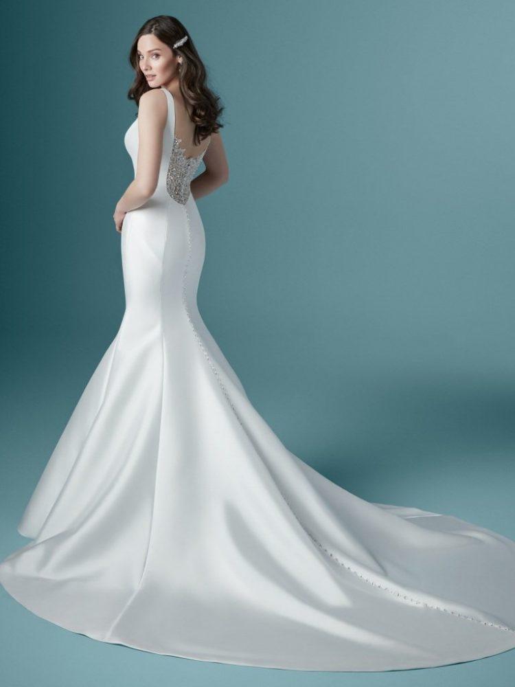 Sleeveless V-neckline Satin Mermaid Wedding Dress by Maggie Sottero - Image 2