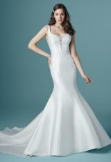Sleeveless V-neckline Satin Mermaid Wedding Dress by Maggie Sottero - Image 1