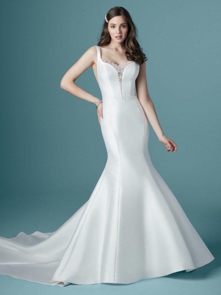 Sleeveless V-neckline Satin Mermaid Wedding Dress by Maggie Sottero - Image 1
