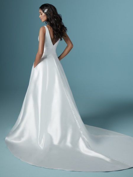 Sleeveless V-neckline Simple A-line Wedding Dress by Maggie Sottero - Image 2