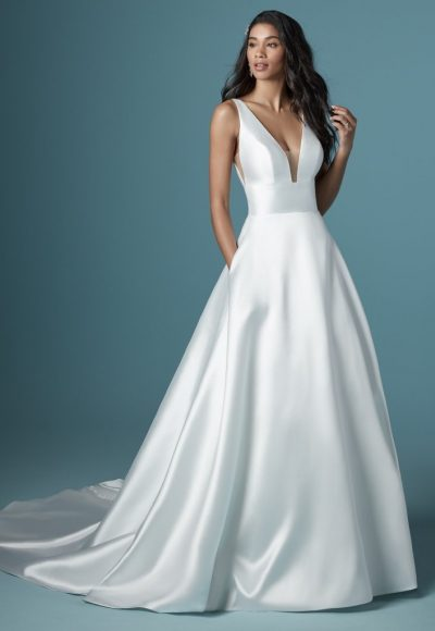 Sleeveless V-neckline Simple A-line Wedding Dress by Maggie Sottero