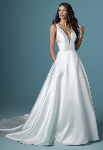 Sleeveless V-neckline Simple A-line Wedding Dress by Maggie Sottero
