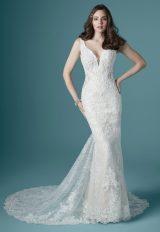 Sleeveless V-neckline Vintage Lace Sheath Wedding Dress by Maggie Sottero - Image 1