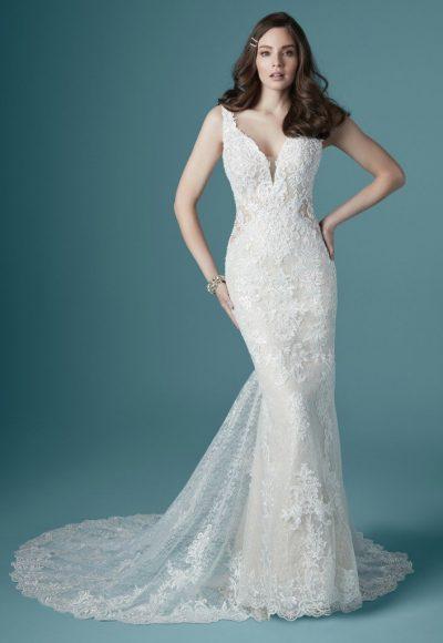 Sleeveless V-neckline Vintage Lace Sheath Wedding Dress by Maggie Sottero
