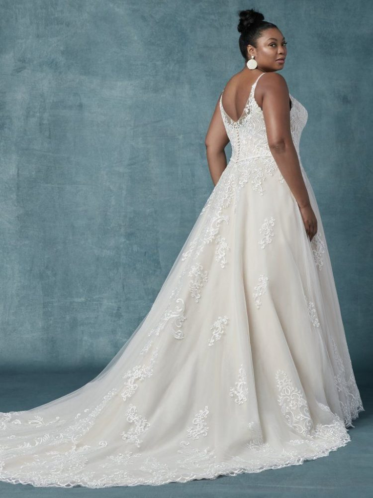 Spaghetti Strap V-neckline A-line Wedding Dress With Beaded Lace by Maggie Sottero - Image 2