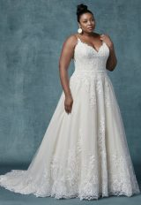Spaghetti Strap V-neckline A-line Wedding Dress With Beaded Lace by Maggie Sottero - Image 1